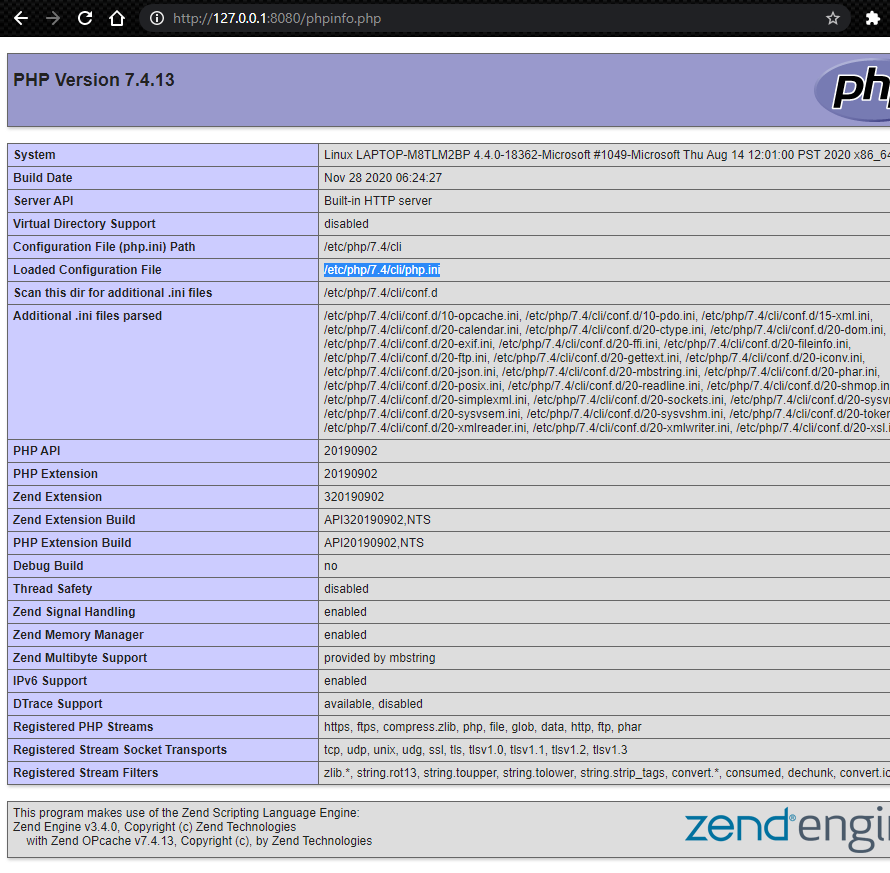 phpinfo loaded showing php.ini file