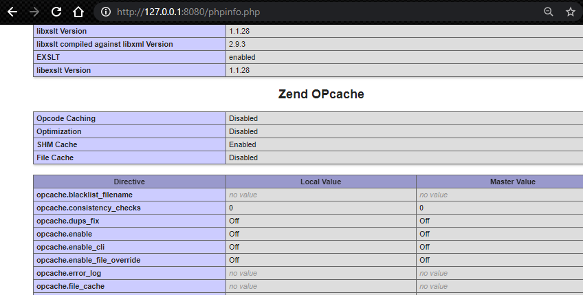 phpinfo showing zend opcache is OFF in localhost