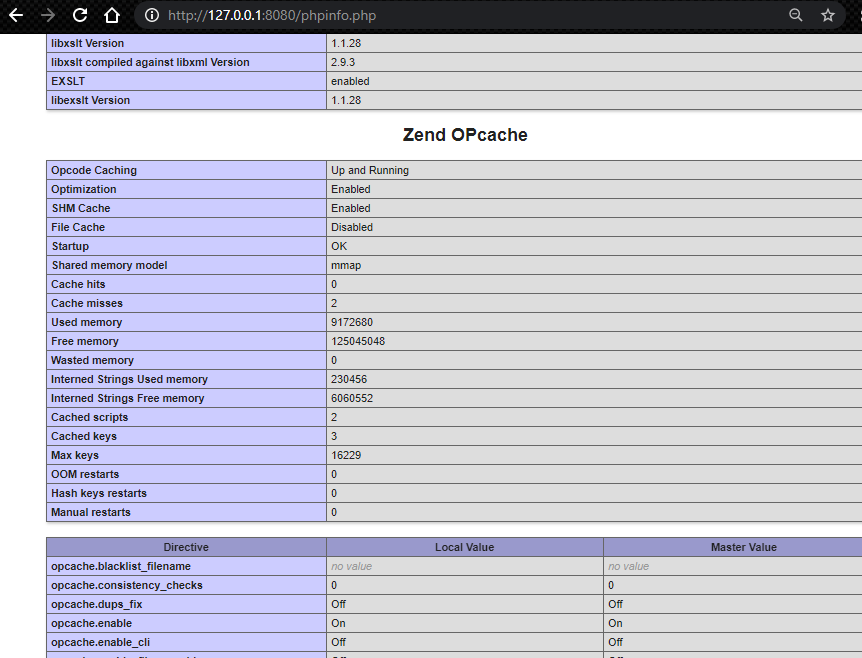 phpinfo shows zend opcache is ON in localhost