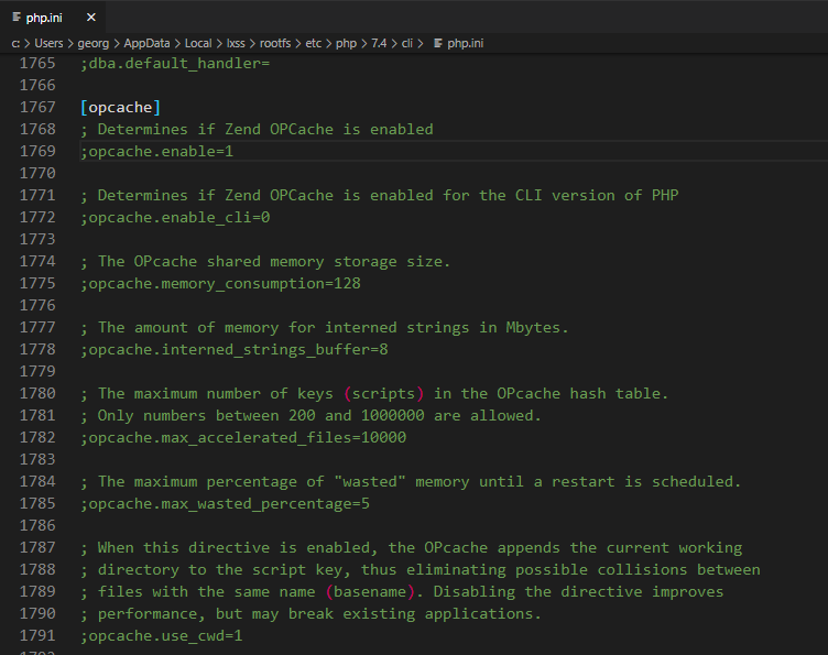 phpinfo zend opcache is ON in code editor