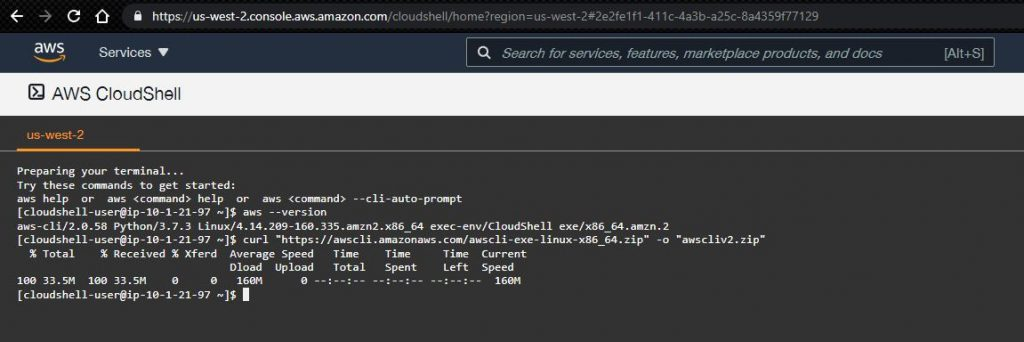 AWS Shell Curl command